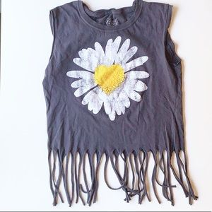 Distressed Sunflower Graphic Fringe Top